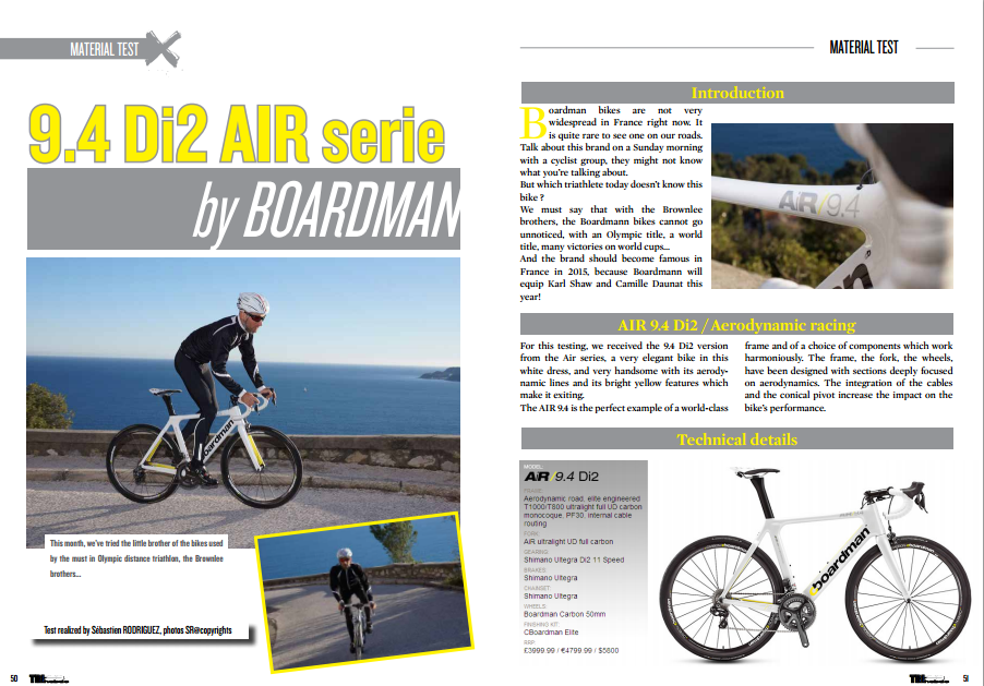 To read in TrimaX#138 the 9.4 Di2 AIR serie by BOARDMAN
