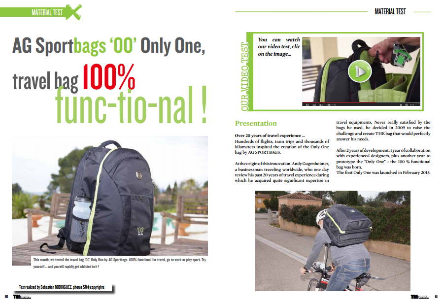The Sportbags «00» travel bag 100% func-tio-nal ! … to read in TrimaX#138