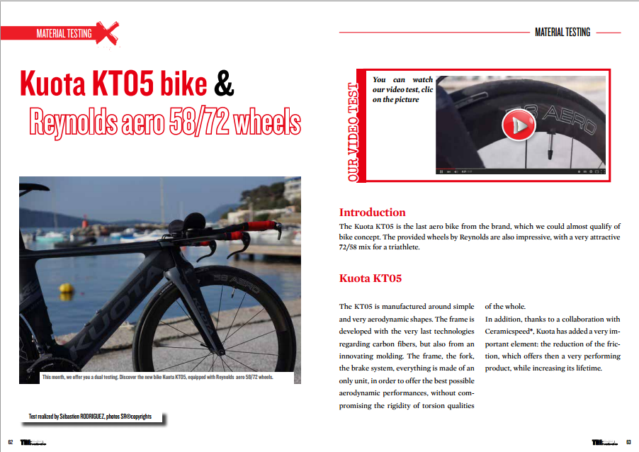To read in TrimaX#139 Kuota KT05 bike & Reynolds aero 58/72 wheels