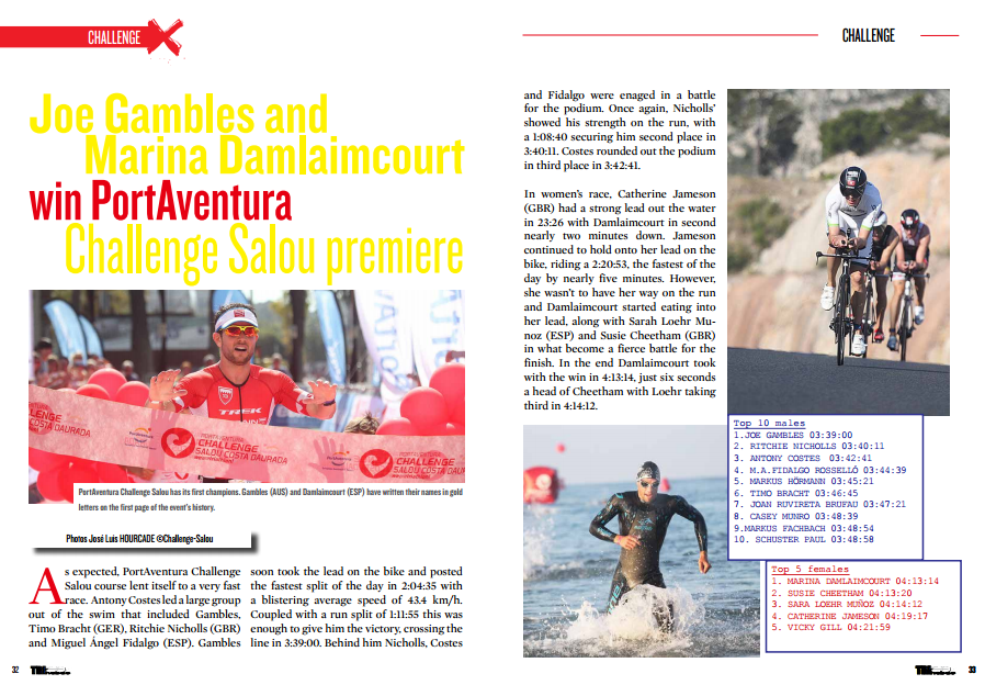 Gambles and Damlaimcourt win PortAventura Challenge Salou premiere…to read in TrimaX#141