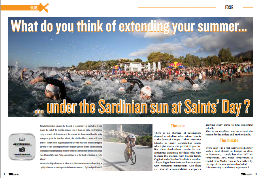 Read in TrimaX#144 : What do you think of extending your summer  under the Sardinian sun at Saints' Day ?