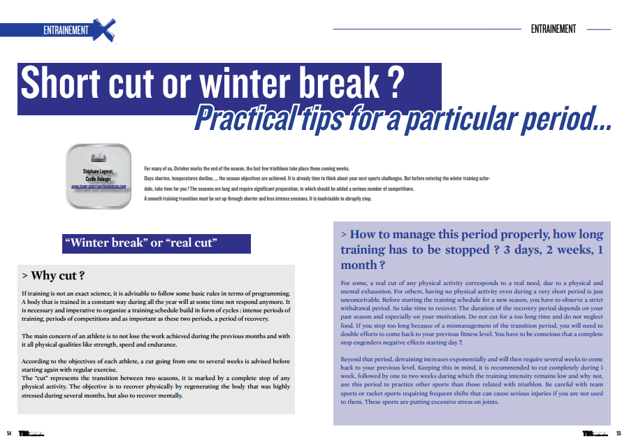 Short cut or winter break ? Short cut or winter break… to read in TrimaX#145