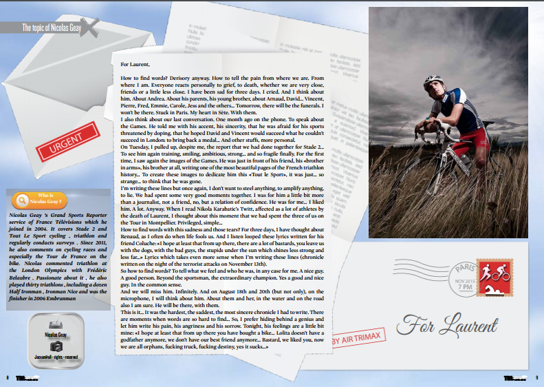 To read in TrimaX#147 : the topic of Nicolas Geay in tribute to Laurent Vidal