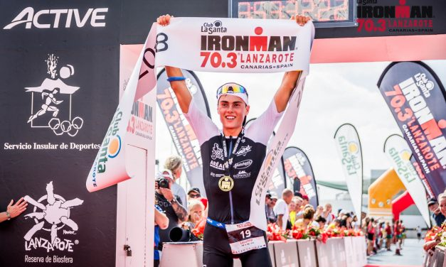 EMOTION IN THE VII IRONMAN 70.3 LANZAROTE   THE FRENCH TOM LECOMTE AND THE BRITANNIAN LUCY GOSSAGE BRILLIANT WINNER
