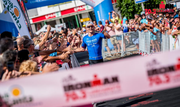 Frederic Funk and Emma Pallant winners of IRONMAN 70.3 Lanzarote